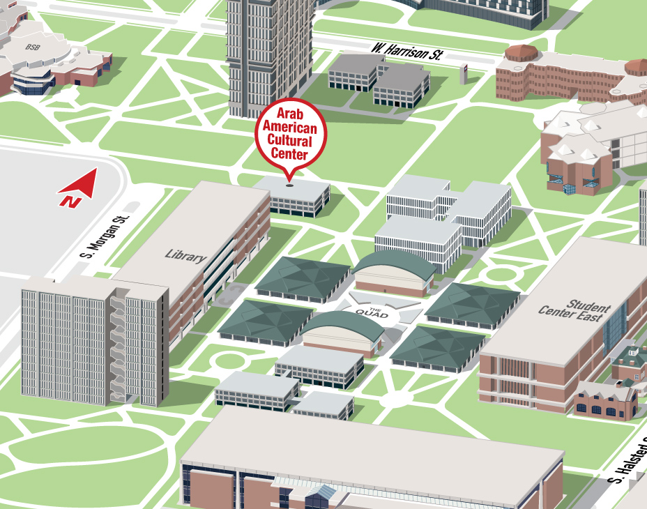 Isometric Illustrative map of UIC East campus with the Arab American Cultural Center building highlighted