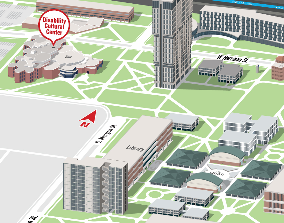 Isometric Illustrative map of UIC East campus with the Disability Cultural Center building highlighted