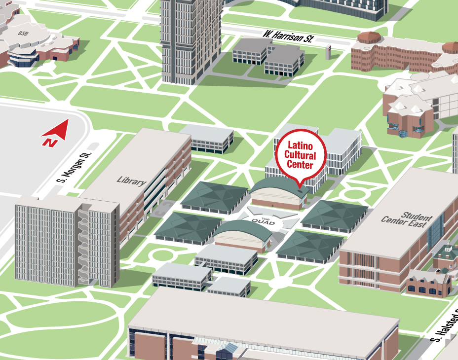 Isometric Illustrative map of UIC East campus with the Latino Cultural Center building highlighted