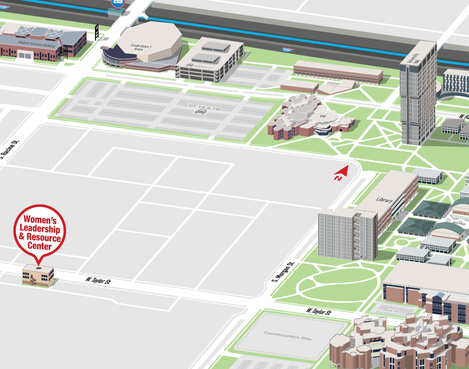 Isometric Illustrative map of UIC East campus with the Women's Leadership and Resource Center building highlighted