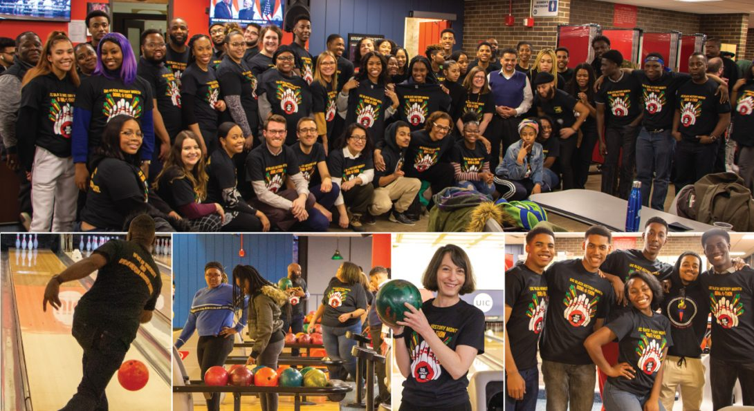 People bowling at UIC's bowling alley. Group pictures, bowlers, getting ready to bowl, and Susan Poser holding a bowling ball