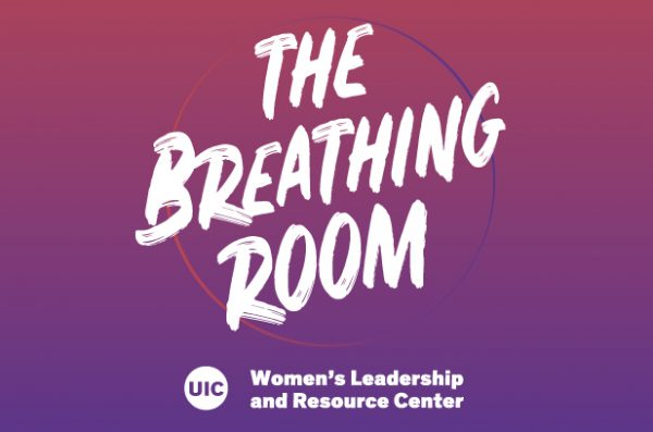 Breathing room room text on a gradient background