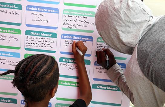 Community engagement participants writing ideas