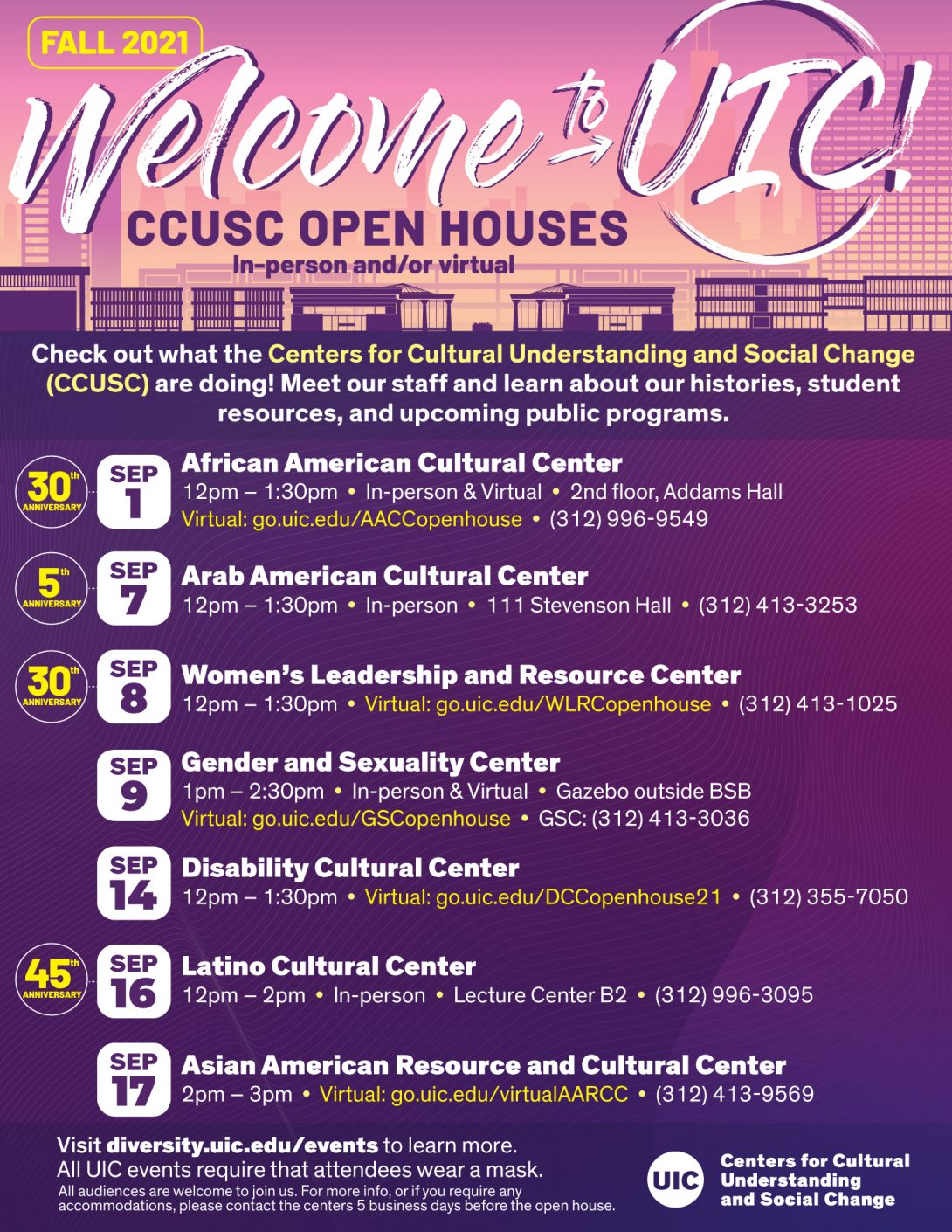 In the banner section, the UIC buildings and Chicago skyline are faded with the words welcome to UIC in a brushed font. Below are the details for the seven cultural center's open houses.