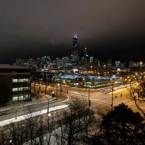 UIC streets at night
