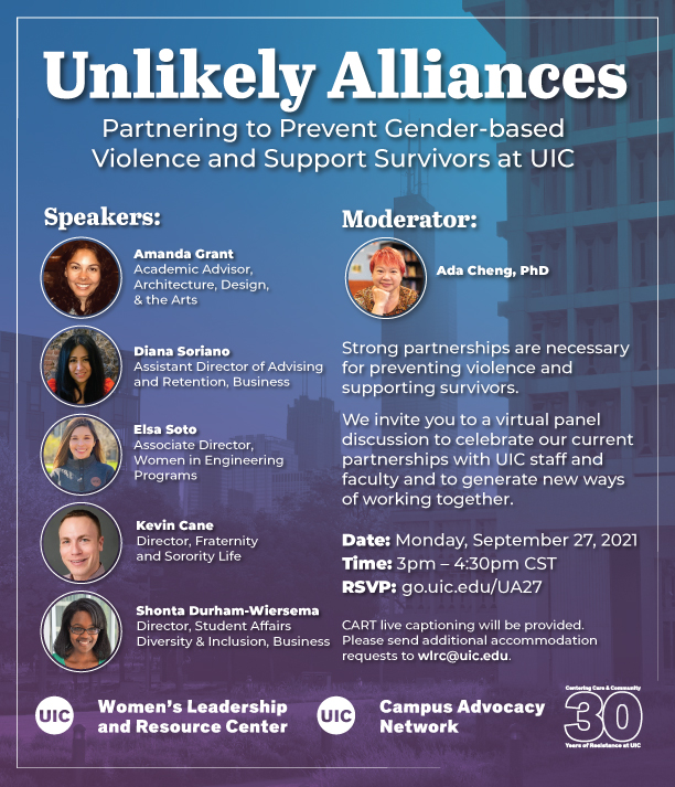 a panel of speakers against a light blue and purple background of UIC