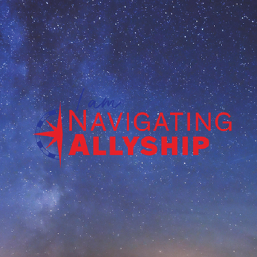 Navigating Allyship logo includes a compass and background is stars.