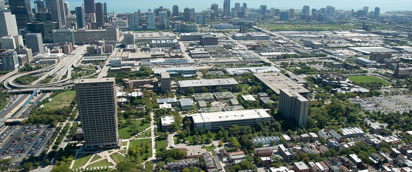 aerial view of UIC campus
