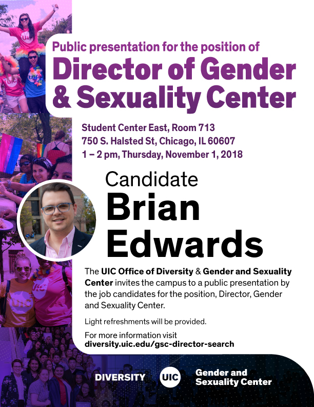 Candidate Brian Edwards for Director of Gender & Sexuality Center
