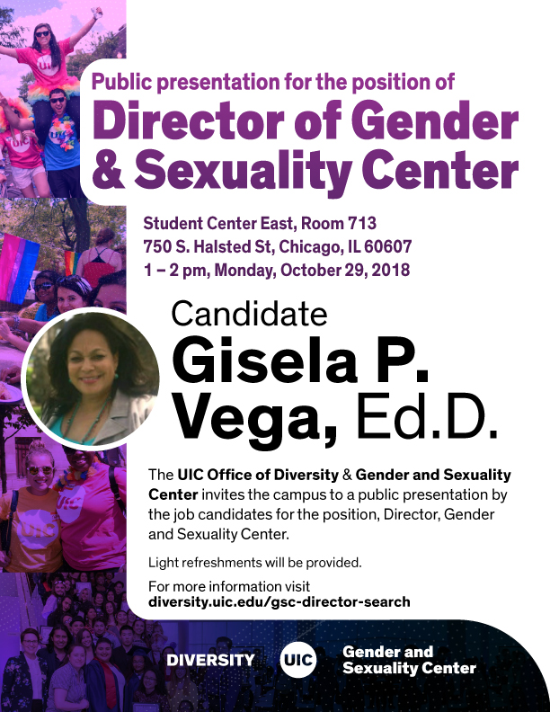 Candidate Gisela P. Vega, Ed.D. for Director of Gender & Sexuality Center