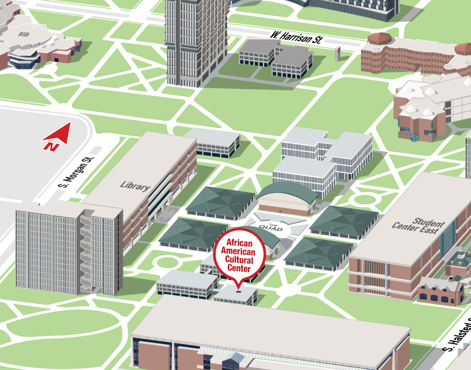 Isometric Illustrative map of UIC East campus with the African American Cultural Center building highlighted