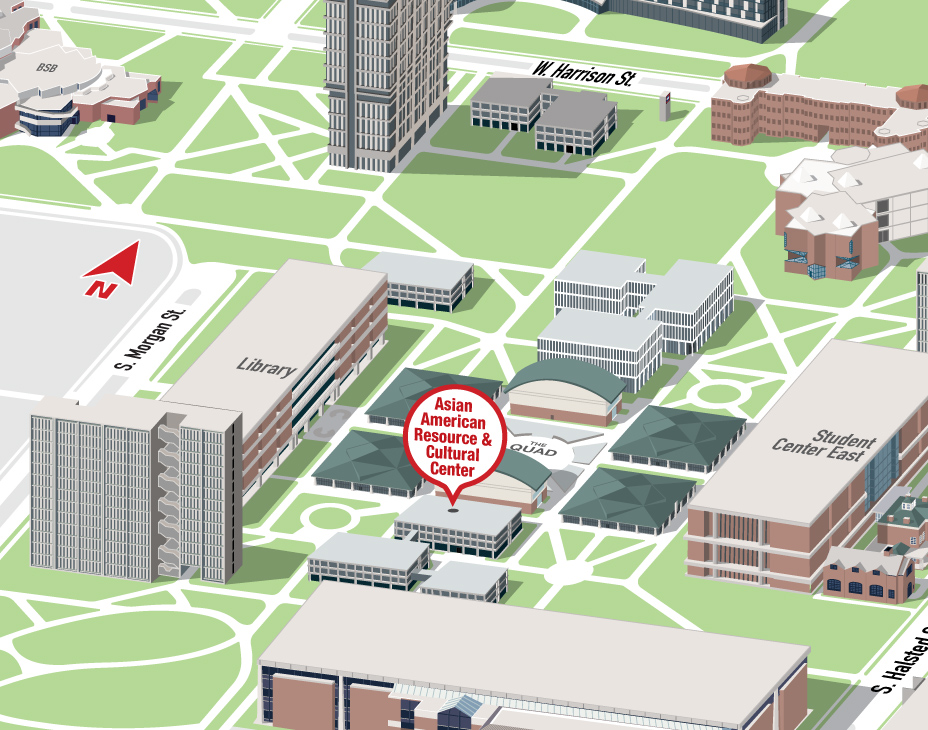Isometric Illustrative map of UIC East campus with the Asian American Resource and Cultural Center building highlighted