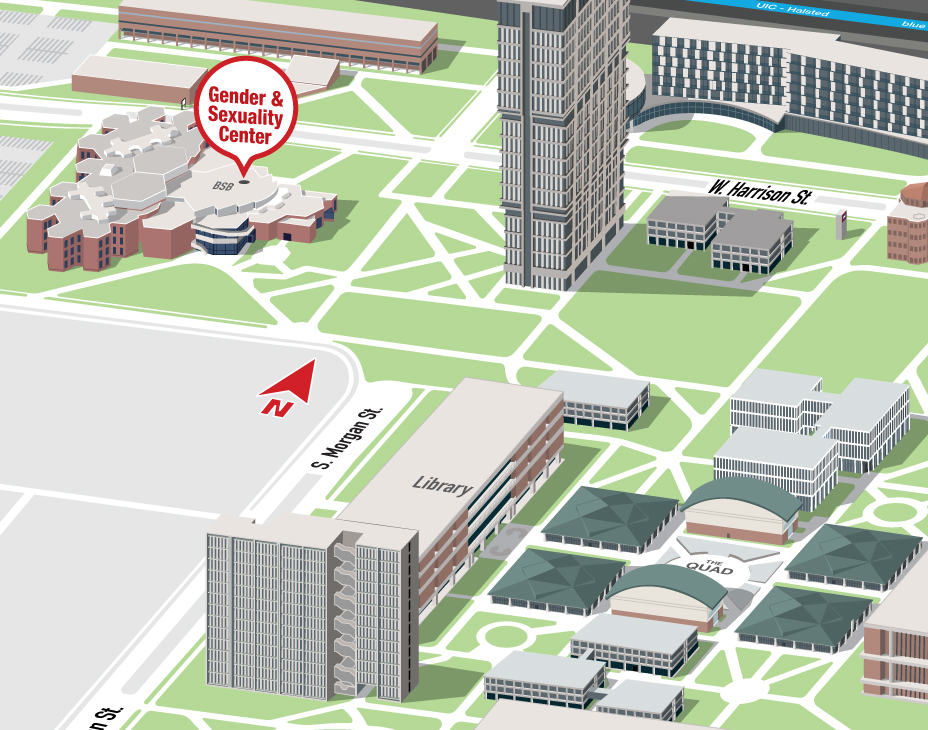 Isometric Illustrative map of UIC East campus with the Gender and Sexuality Center building highlighted