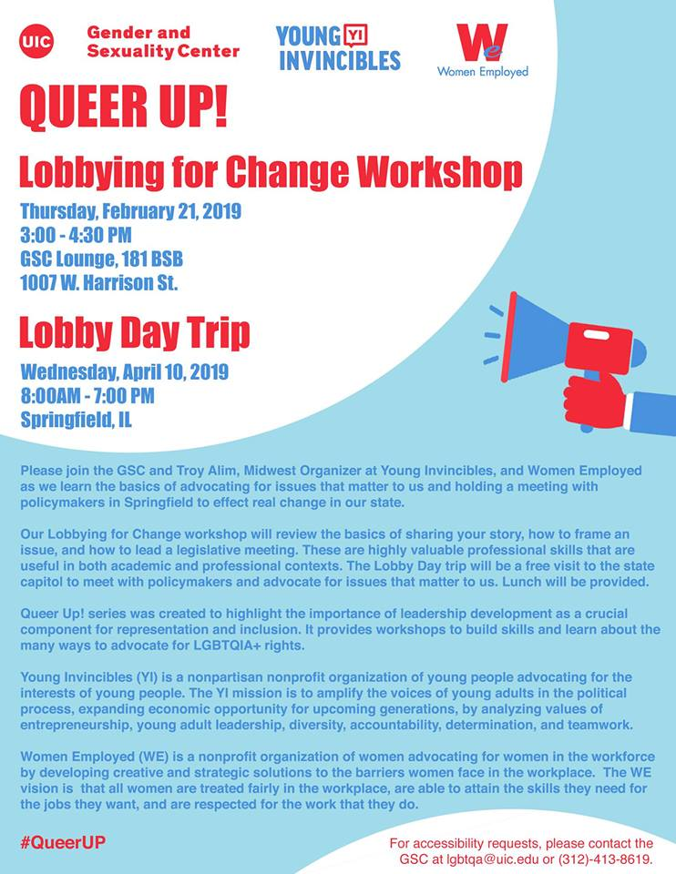 GSC - Queer Up! Lobby Day Trip | Office of the Vice Provost
