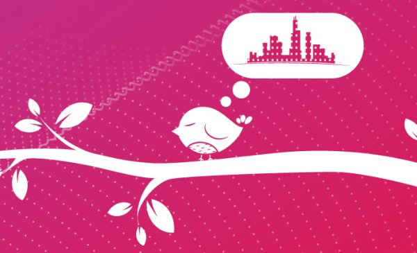 Illustration of a bird on a branch thinking about the city of Chicago with the words