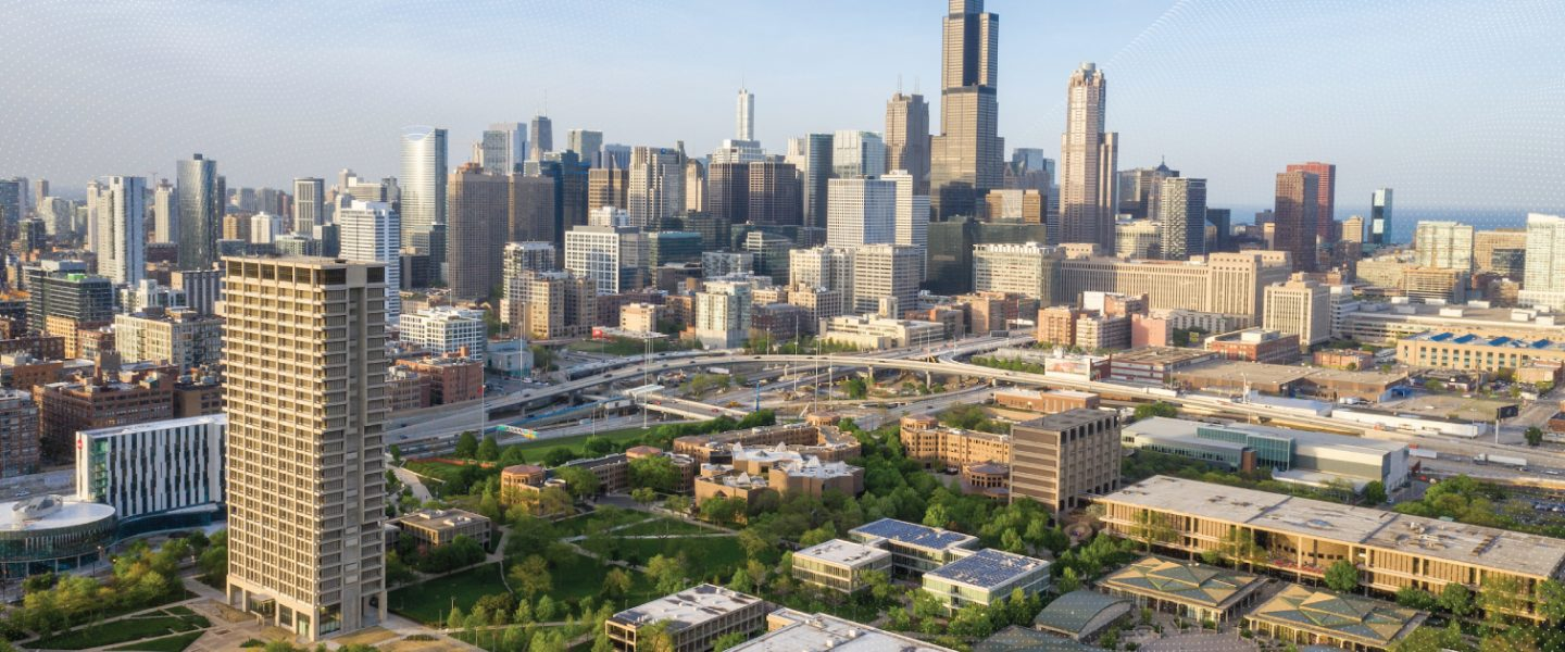 birds eye view of UIC campus