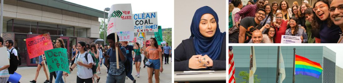 Left: Students and community marching during the Youth Climate Strike. Middle: Speaker at ArabAMCC's Yemeni Lives at the Intersection of War and Discrimination event. Top Right: Folks gathering after the signing of the RISE bill. Bottom Right: The first time the LGBTQ  flag was displayed and flown on UIC's campus.