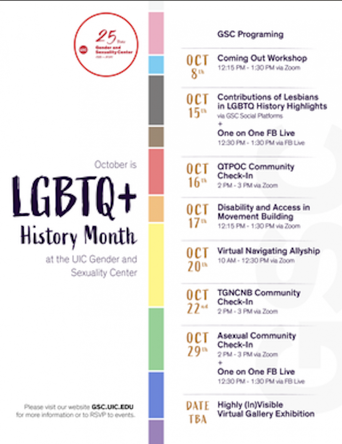 White background with a colorful, rainbow timeline featuring events the GSC will be hosting for this LGBTQ+ History Month