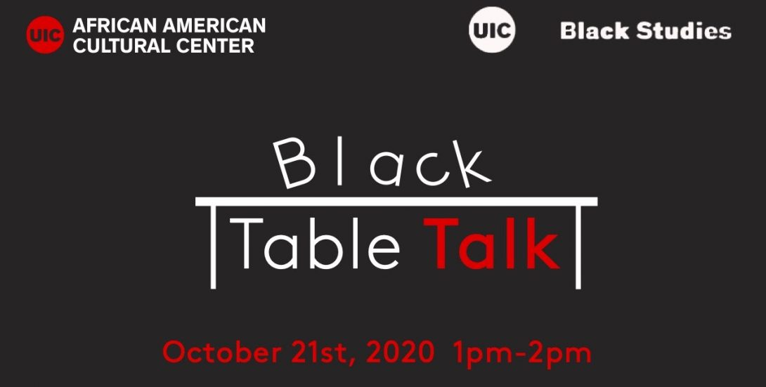 black background with a table in the middle. above it is the word 'Black' and underneath is 'Table Talk'