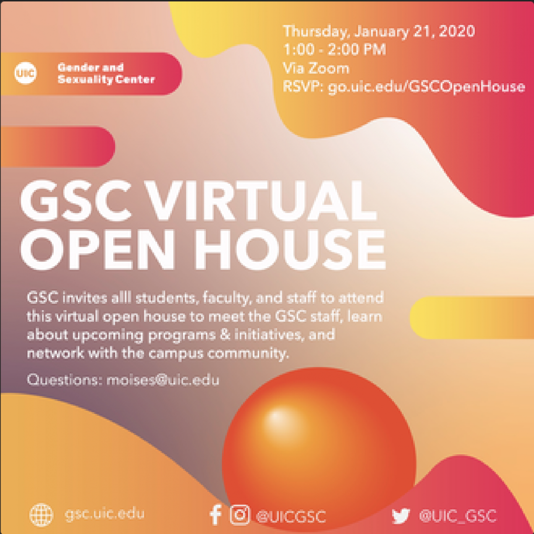 different sized multi colored organic sshapes are scattered around the background. The logo of GSC is in the top left corner and the information is centered.