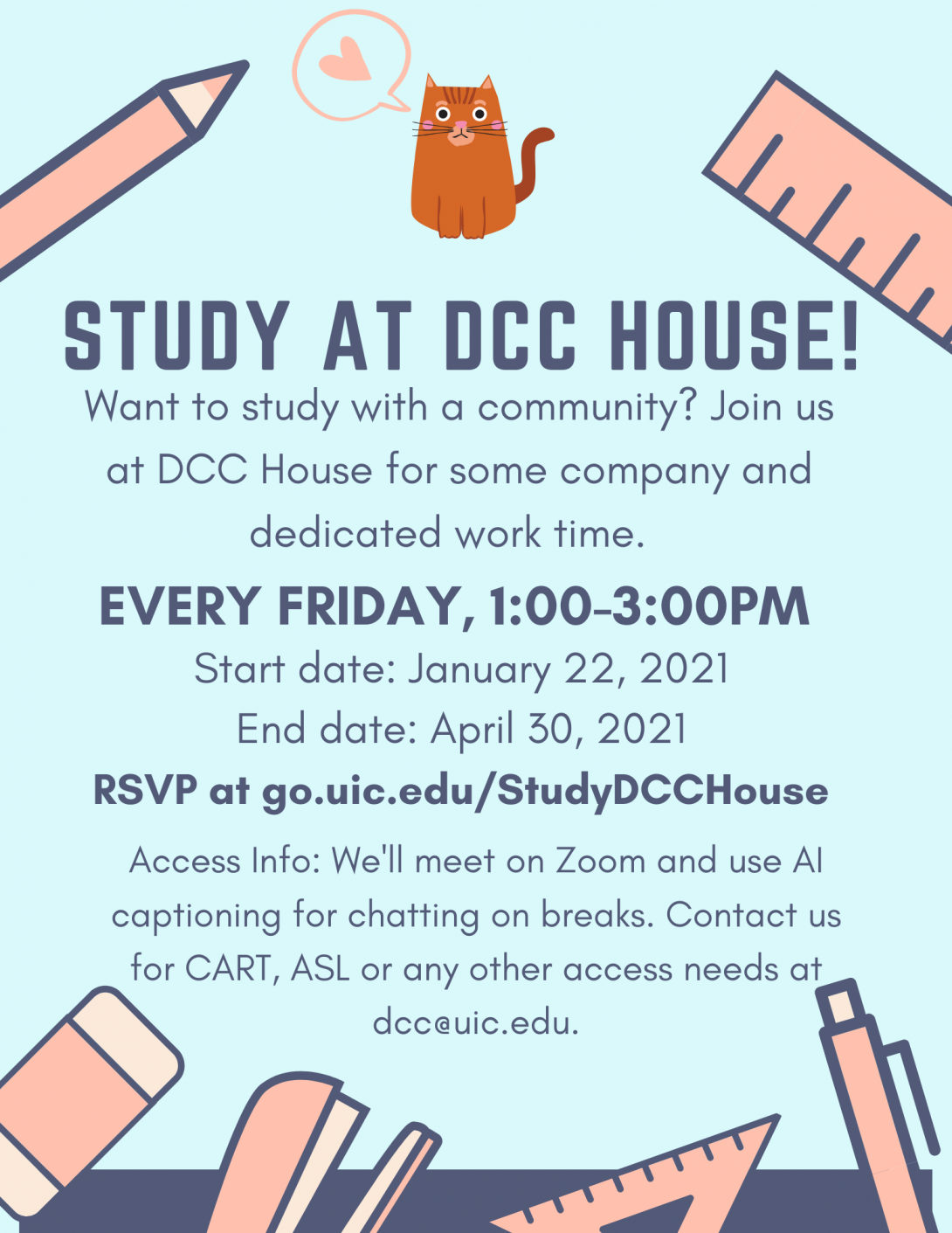 A light blue flyer with large graphic office supplies around the perimeter in peach and navy: a ruler, stapler, eraser, and pen/pencil. The text is bold navy, and at the top is the orange DCC House cat with a peach speech bubble containing a heart.