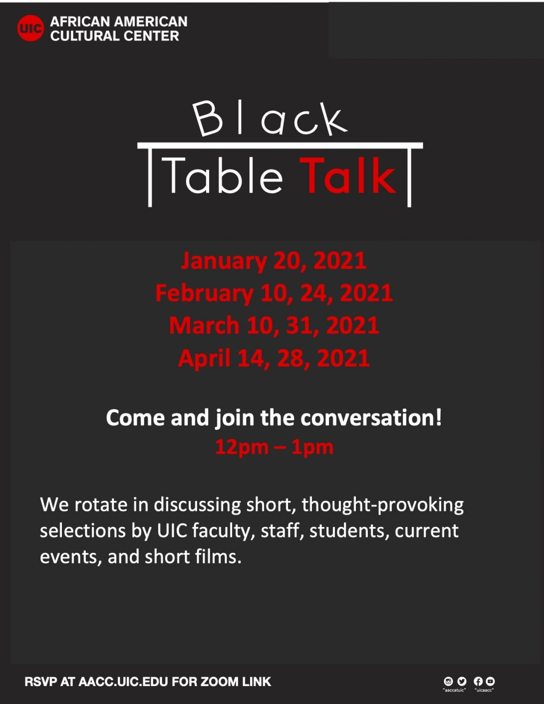 black background with a white table in the middle. above it is the word 'Black' and underneath is 'Table Talk'