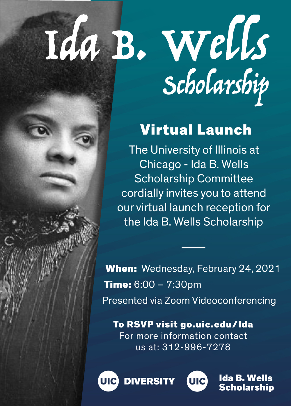 A black and white photo of Ida b wells in her youth on the left and a striped blue background on the right. Above is the event info.