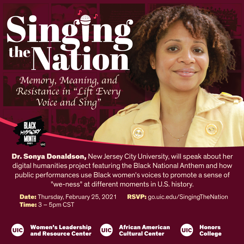 Image of Dr. Sonya in front of a collage of her website. The title singing the nation with a microphone icon.