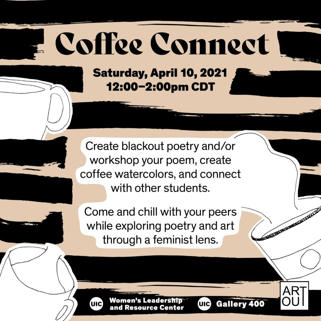 black paint lines with simple coffee mug illustrations against a beige background.z