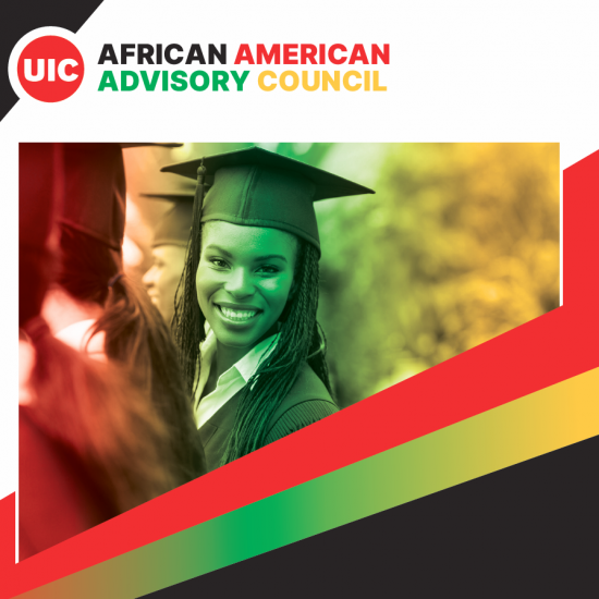 Image of smiling Black woman in graduation gown with red, black, yellow and green graphic color theme